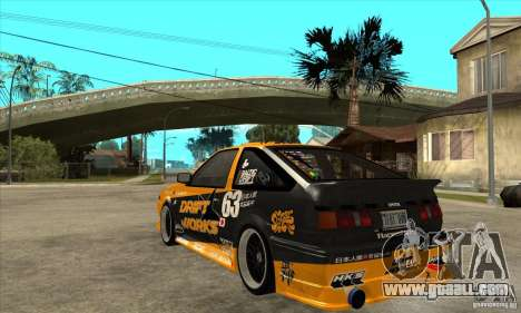 Toyota Corolla GT-S DriftWorks for GTA San Andreas back left view