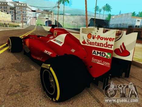 Ferrari F2012 for GTA San Andreas back left view