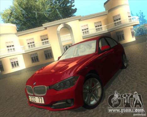 BMW 3 Series F30 2012 for GTA San Andreas inner view