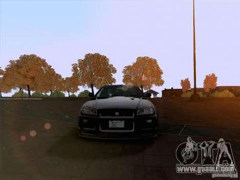 Nissan Skyline GTR R34 for GTA San Andreas back view