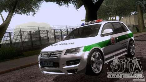Volkswagen Touareg Policija for GTA San Andreas inner view