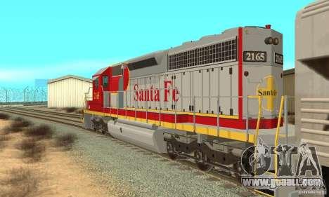 SD40 Santa Fe for GTA San Andreas back left view