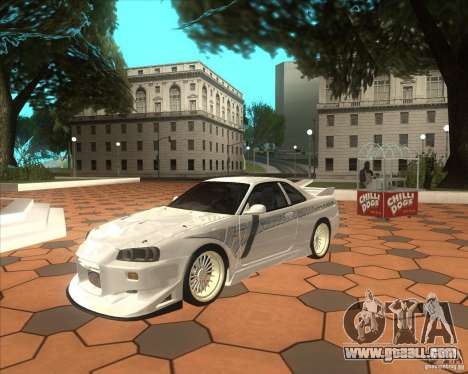Nissan Skyline R34 Veilside street drag for GTA San Andreas left view