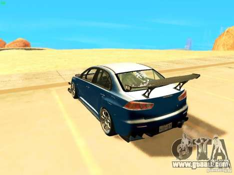 Mitsubishi Lancer Evolution X Time Attack for GTA San Andreas left view