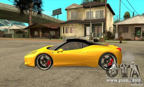 Ferrari 458 Italia custom for GTA San Andreas left view