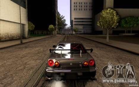 Nissan Skyline GT-R34 for GTA San Andreas bottom view