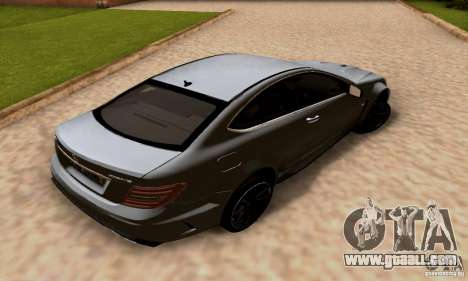 Mercedes-Benz C63 AMG for GTA San Andreas bottom view