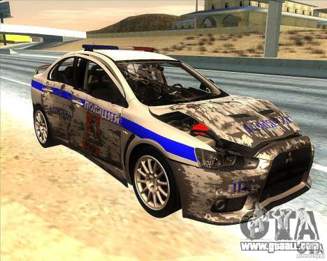 Mitsubishi Lancer Evolution X PPP Police for GTA San Andreas bottom view