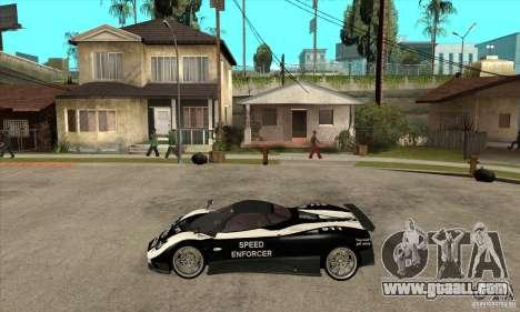 Pagani Zonda F Speed Enforcer BETA for GTA San Andreas back left view