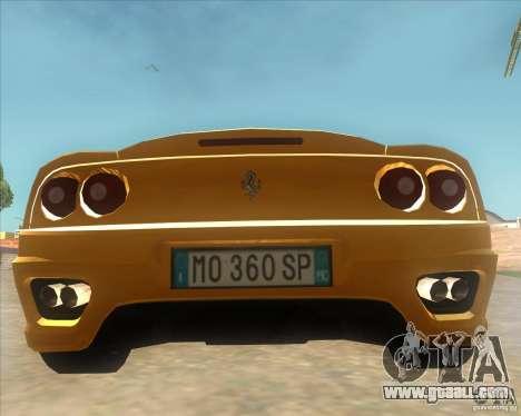 Ferrari 360 Spider for GTA San Andreas back left view