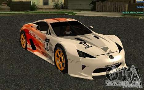 Lexus LFA Speedhunters Edition for GTA San Andreas inner view