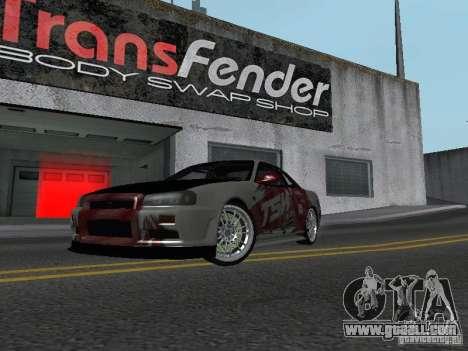 Nissan Skyline R 34 for GTA San Andreas left view