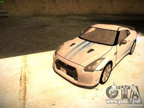 Nissan GT-R for GTA San Andreas bottom view