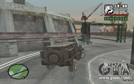 Military truck for GTA San Andreas back view