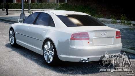 Audi S8 D3 2009 for GTA 4 back left view