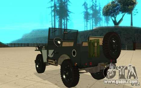 Willys MB for GTA San Andreas back left view