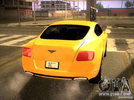 Bentley Continental GT 2011 for GTA San Andreas back left view