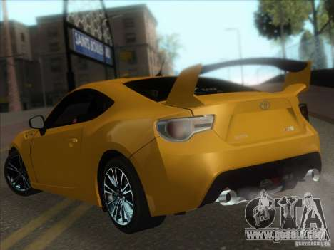 Toyota GT86 2012 for GTA San Andreas back view