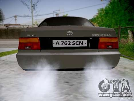 Toyota Corolla for GTA San Andreas back left view