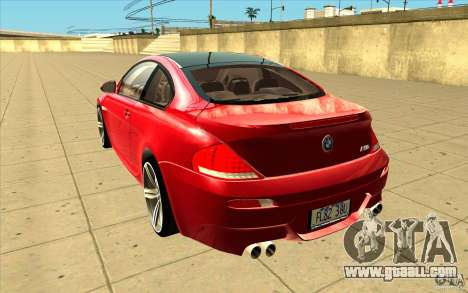 BMW M6 for GTA San Andreas back left view