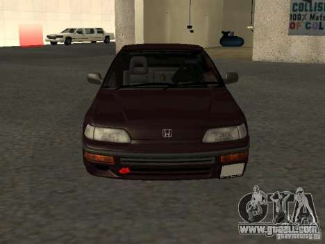 Honda Civic CRX JDM for GTA San Andreas upper view