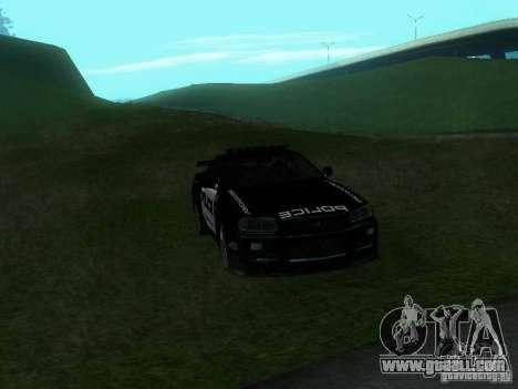 Nissan Skyline R34 Police for GTA San Andreas inner view