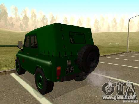 UAZ 469 Military for GTA San Andreas back left view