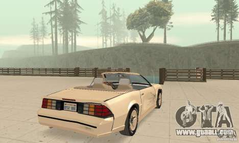 Chevrolet Camaro RS 1991 Convertible for GTA San Andreas bottom view