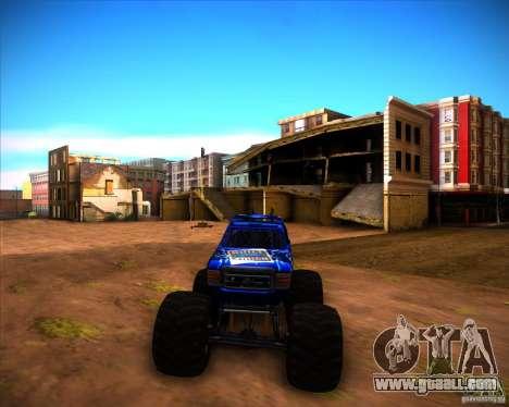 Monster Truck Blue Thunder for GTA San Andreas back left view