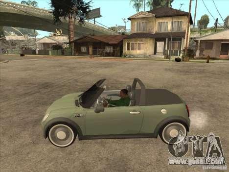 Mini Cooper S Cabrio for GTA San Andreas back left view