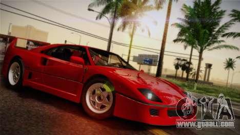 Ferrari F40 1987 for GTA San Andreas wheels