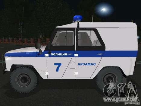 UAZ-31512 Police for GTA San Andreas left view