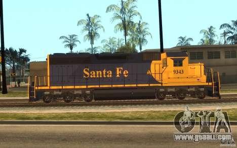 Locomotive SD 40 Santa Fe Blue/Yellow for GTA San Andreas left view