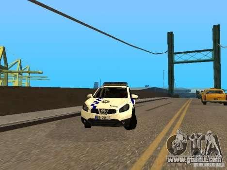 Nissan Qashqai Espaqna Police for GTA San Andreas back view