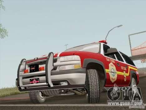 Chevrolet Suburban SFFD for GTA San Andreas left view