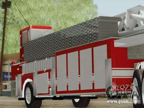 Pierce Arrow XT LAFD Tiller Ladder Trailer for GTA San Andreas back left view