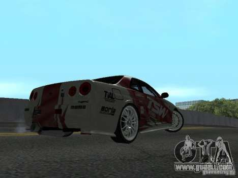 Nissan Skyline R 34 for GTA San Andreas back view