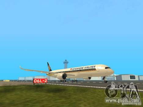 Airbus A350-900 Singapore Airlines for GTA San Andreas left view