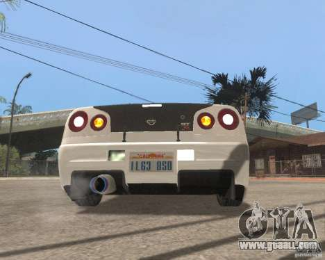 Nissan Skyline R-34 TUNED for GTA San Andreas right view