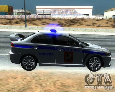 Mitsubishi Lancer Evolution X PPP Police for GTA San Andreas left view