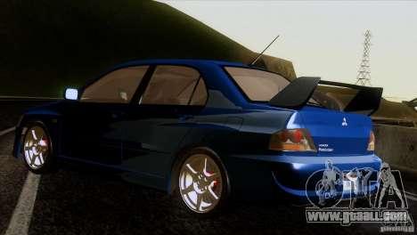 Mitsubishi Lancer Evolution IIIV for GTA San Andreas back left view