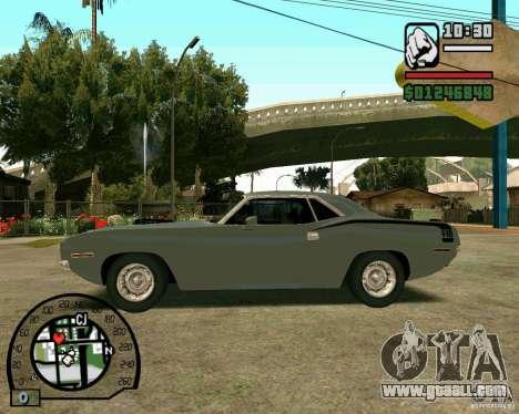 Plymouth Hemi Cuda 440 for GTA San Andreas right view