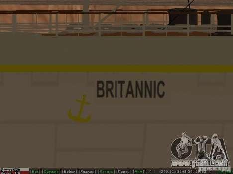 HMHS Britannic for GTA San Andreas upper view