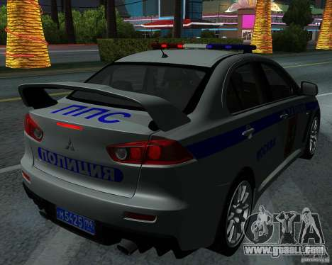 Mitsubishi Lancer Evolution X PPP Police for GTA San Andreas side view