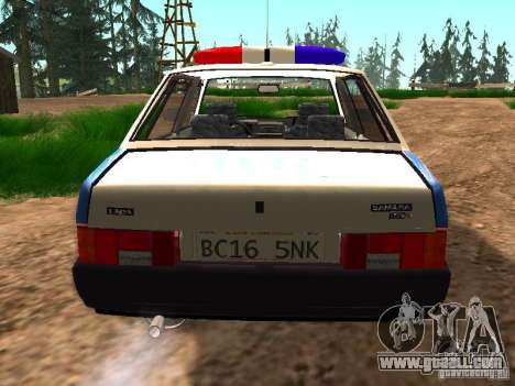 VAZ 2109 Police for GTA San Andreas back view