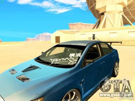 Mitsubishi Lancer Evolution X Time Attack for GTA San Andreas back view
