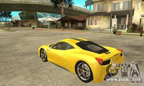 Ferrari 458 Italia 2010 v2.0 for GTA San Andreas back left view