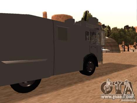 A police water cannon Rosenbauer v2 for GTA San Andreas back left view