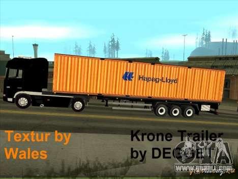 Krone Trailer Hapag-LLoyd for GTA San Andreas