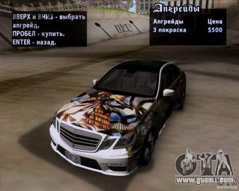 Mercedes-Benz E63 AMG V12 TT Black Revel for GTA San Andreas upper view